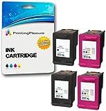 Printing Pleasure 4 XL Tintenpatronen kompatibel zu HP 300XL für Deskjet D1660 D1663 D2530 D2545 D2560 D2660 D5560 F2420 F2480 F4210 F4280 F4580 Photosmart C4780 C4680 - Schwarz/Color, hohe Kapazität