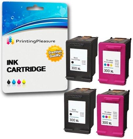 Printing pleasure 4 xl compatibili hp 300xl cartucce d'inchiostro sostituzione per deskjet d1660 d2545 d2560 d2660 d5560 f2420 f2480 f4280 f4580 photosmart c4780 c4680 - nero/colore, alta capacità