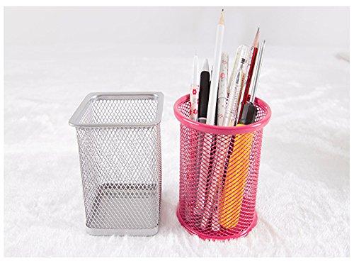 cdet 1x Stifteköcher rund schwarz Metall Mesh Pen Pot Make-up Box Container Schreibtisch Tidy Home Office Supplies Geburtstag Geschenk - 7