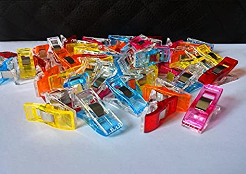 WONDER CLIPS - Super 100-PACK!-Vibrant Colors! All Purpose Craft Clips - Perfect as Sewing Clips, Quilting Clips,Binding Clips & More! by Handi-Stitch Art Supply -100% Moneyback Guarantee