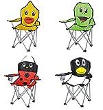 Kinder-Faltarmlehnstuhl in 4 lustigen Tier-Motiven: Pinguin - Marienkäfer - Frosch - Ente Klappstuhl Faltstuhl Campingstuhl für Kinder