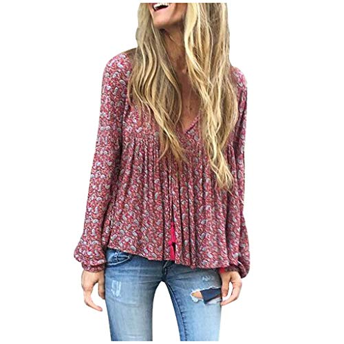 Empire-taille V-neck Tunika (Deman outfit-Artistic9 Damen Empire Taille Tunika Oberteile Plus Größe Floral Langarm Pullover Sweatshirt lose Slouchy Shirts 2019 lässige T-Shirt Bluse Tee)