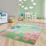 Taracarpet Moderner Kurzflor Kinderzimmer Teppich für Das Kinderzimmerblaue Schmetterlinge auf Grün und Rosa Blumen Öko Tex Zertifiziert 120x170 cm