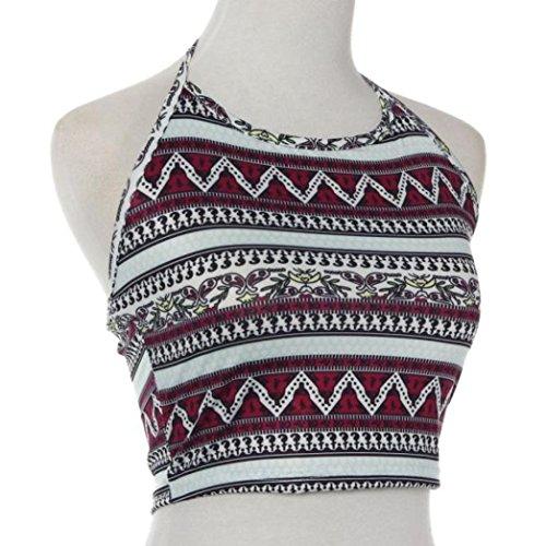 Bekleidung Longra Damen Boho Tank Tops Bustier BH Weste Crop Bralette Hemd Bluse Cami Sommer Tops Multicolor