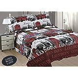 ForenTex- Colcha bouti reversible, (190x260cm cama 90) Estampada cocida- Londres colcha verano, colcha barata, set de cama, ropa de cama(S-2639)