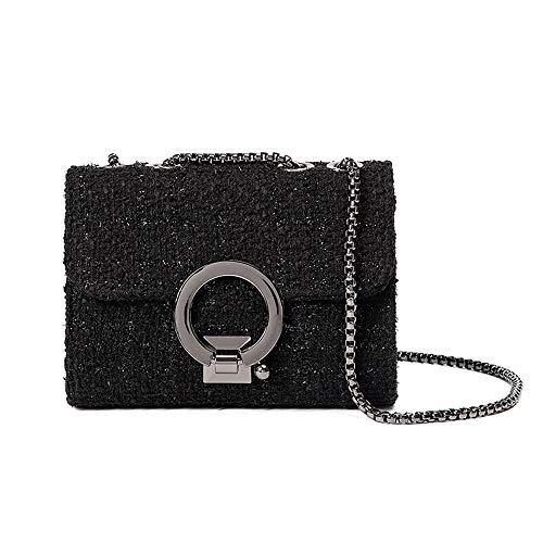Zhengtuu Frauen Umhängetasche Mode Einfach Einfarbig Crossbody Wolle Tasche Schwarz Handtasche Sperre, Zartes Futter Schick (Farbe : Black) -