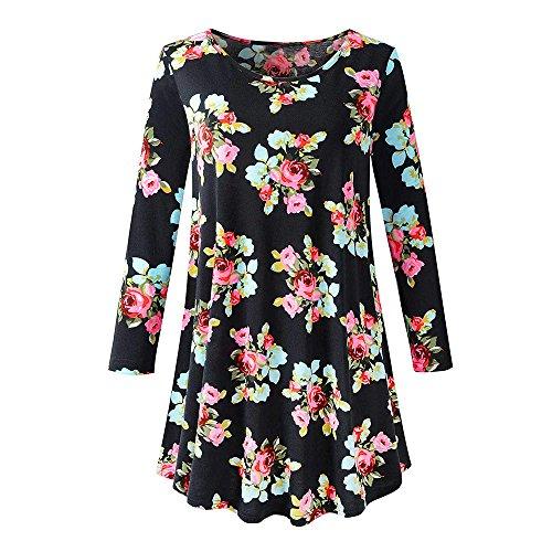 Rawdah Dress Womens Long Sleeve O Neck Floral Tops Ladies Summer T-Shirt Blouse Black Green Navy Prime Plus Size Man Waist Slim Fit Regular Fit Collar Hangers Prime Workwear Cotton Travel Bag