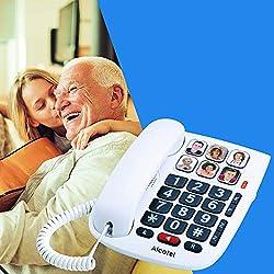 Alcatel TMAX 10 - Téléphone Filaire Larges Touches pour Les séniors, 6 Photos mémoires, Mains Libres, Clavier Larges Touches - Blanc