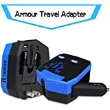 Tarkan Armour Heavy Duty Tough Universal Travel Adapter Plug With Car Charger, Dual USB Port For Mobile/Tablet (Blue)