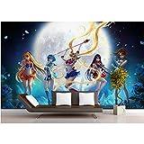 MSyikU Seidenwandbild 3D Zimmer Wallpaper Benutzerdefinierte Wandbild Wandaufkleber 3D Sailor Moon Kinder Schlafzimmer Malerei Foto 3D Wandbilder Wallpaper,350cm*260cm