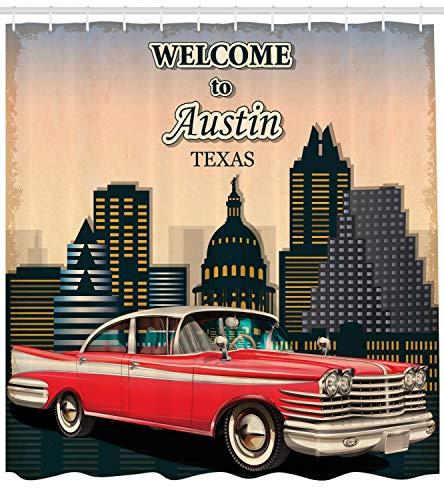 ABAKUHAUS Austin Duschvorhang, Willkommen in Texas Gruß, mit 12 Ringe Set Wasserdicht Stielvoll Modern Farbfest und Schimmel Resistent, 175x200 cm, Mehrfarbig
