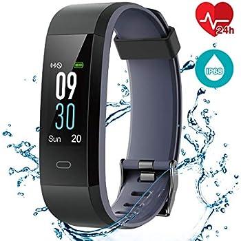 CHEREEKI Pulsera Actividad Pulsera de Actividad Inteligente con Monitor de Calorías, Monitor de Ritmo Cardíaco, IP68 Reloj Fitness Podómetro con 14 ...