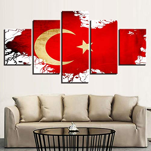 HUIHUAJIE Kein Rahmen Wohnkultur Leinwand Malerei 5 Stücke Türkei Nationalflagge Wandkunst Moderne Modulare Bilder Für Wohnzimmer Kunst Poster -