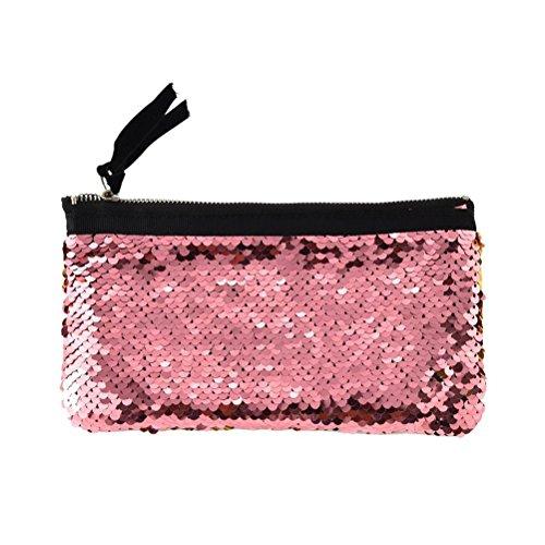 Fenical borsa cosmetica multifunzione da viaggio con paillettes borsa da trucco tracolla da trucco per le donne ragazze (rosa e oro)