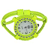 Reloj de - cussi Reloj de pulsera ajorca brazalete de cuarzo de cristal de alambre de acero Amarillo