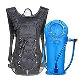Unigear Trinkrucksack Hydrationspack mit 2L Trinkblase Fahrradrucksack für Joggen, Wandern, Radfahren, Camping und Bergsteig (1*Grau+2L Trinkblase)