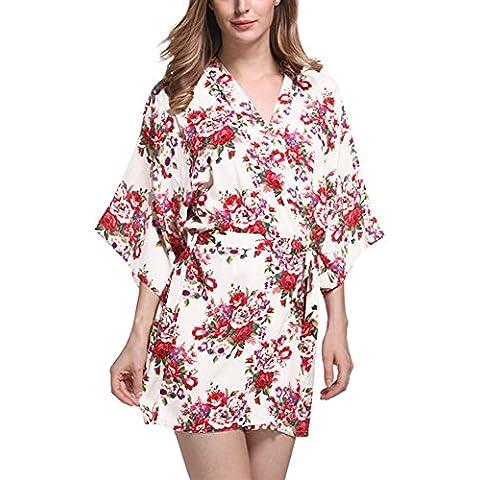DELEY Mujeres Kimono Algodón Mercerizado Vintage Floral Impresión Elegante Bata Ropa de Dormir Albornoces Novia Vestido de Noche
