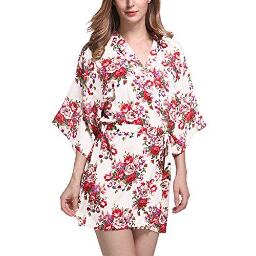 DELEY Femmes Kimono Coton Mercerisé Vintage Floral Impression Élégant Peignoir Robe de Chambre Mariage de Robe Vêtements de Nuit Blanc