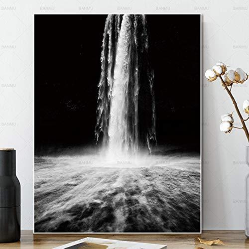 Geiqianjiumai Leinwandbild Wandkunst Malerei Dekoration Poster Kunstdrucke Wasserfall auf Leinwand Wanddekoration Wohnzimmer rahmenlose Malerei 40x60cm