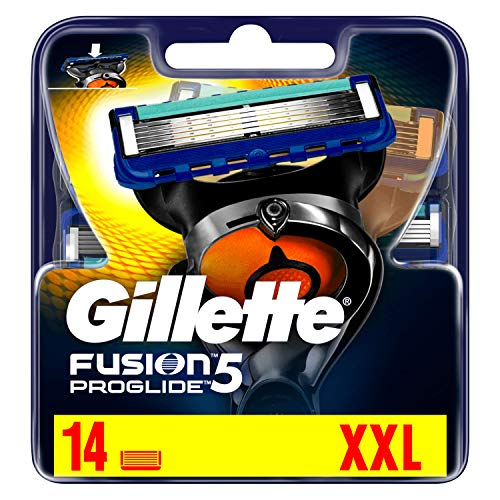 Gillette Fusion5 ProGlide -  Cuchillas de Recambio para Maquinilla afeitar,  paquete apto para el Buzón de Correos,  pack de 14