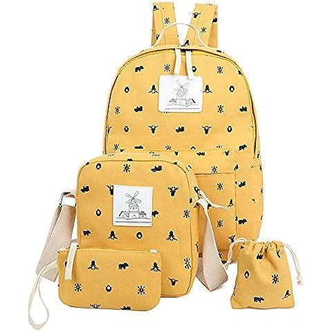 YipGrace Bolsa de Lona Importada Moda Set de 4 Piezas Mochila + Bolso de Bandolera + Billetera + Monedero para Escolar Viagem
