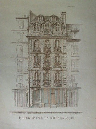 Maison Natale de Hoche (Rue Satory, 18.) - Lithographie von Hayet