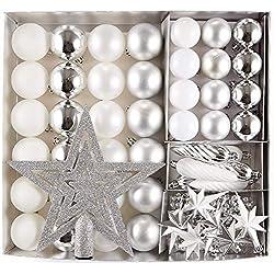 HEITMANN DECO 50er Set Christbaumkugeln Christbaumschmuck mit Stern Spitze - Kunststoff Weihnachtsschmuck Weiß Silber zum Aufhängen