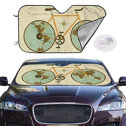 VTIUA Parasol para Parabrisa,parasoles de Coche Auto Bicycles Portable Universal Sunshade Keeps Vehicle Cooler for Car,SUV,Trucks,Minivan Automotive and Most Vehicle Sunshade (51 X 27 in)