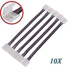 SODIAL(R) 10 X Adaptador Conector LED PCB 4 Pin para 5050 Monocolor y Tira RGB 10mm ancho