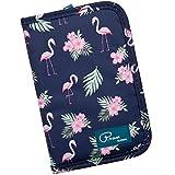Reisebrieftasche Reiseorganizer Mappe Reisepass Reise-Dokumente Tasche mit RFID Kreditkarten-Halter Wasserdicht Reiseunterlagen Ausweistasche Handtasche Organizer Tickettasche, ManKn (Flamingo)