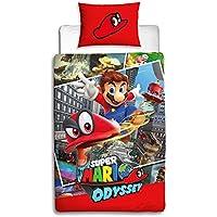 Nintendo Super Mario Odyssey - Funda de edredón Reversible de Dos Caras con Funda de Almohada a Juego