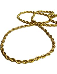 Chapado en oro 91.4cm Largo 6mm Grueso Cuerda Hiphop Brillante Cadena