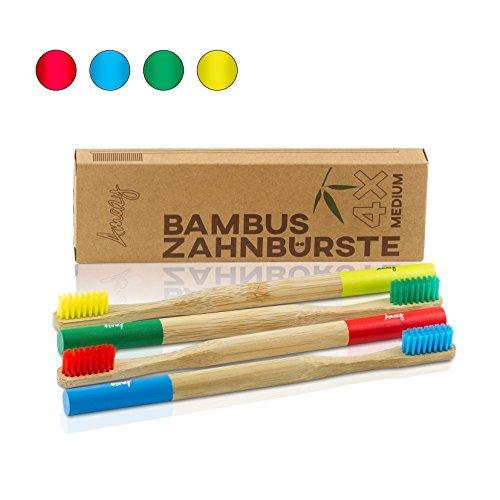 Amazy Bambus Zahnbürste (4 Stück | 4 Farben) – Die nachhaltige, vegane Holzzahnbürste für eine natürliche Zahnpflege und Zahnreinigung