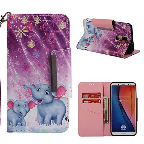 Funda Huawei Mate 10 Lite Elefantes, Carcasa Libro de Cuero con Correa...