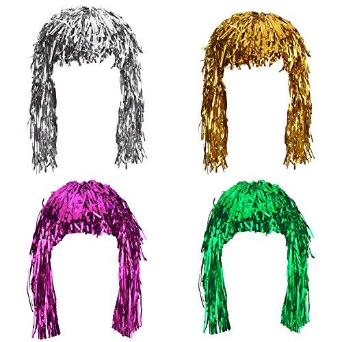 Kostüm Perücken Party - 4 Stück Folie Lametta Perücken Kostüm Glänzende Party Perücke Metallic Kostüm Cosplay Zubehör (Gold, Silber, Grün und Rosa)