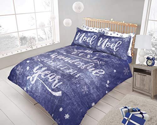 Clicktostyle new xmas christmas festive set copripiumino in policotone con di biancheria da letto, xmas chalk blue, king