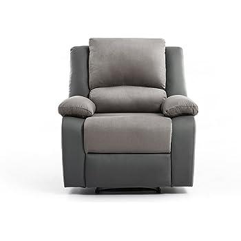 UsineStreet Fauteuil Relaxation 1 Place Microfibre Simili DETENTE - Couleur  - Gris fe9d370da5ac