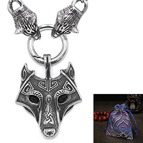 WLXW Vikingo Nórdico Celta Cabeza del Lobo Collar de Acero Inoxidable - Nordic Mito Cabeza del Lobo Protector Colgante, Collar Étnico de La Joyería Hombres de la Moda, Los 60CM