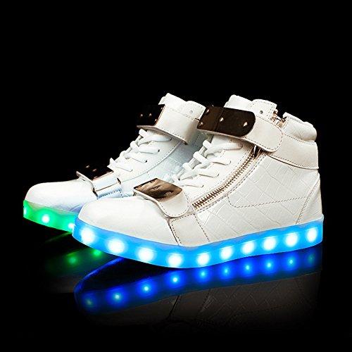 Fortuning's JDS Adulte Unisexe Haut de page pièces de fer Fermeture éclair Velcro LED clignotant Sneakers USB chargeant des chaussures lumineuses Blanc
