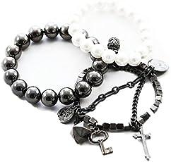 Victorian Ladies Western Style Multi Strands Grey Pearls Cross Bracelet for Girls