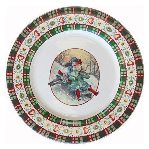 Faïencerie de Niderviller Assiette Plate Ronde Saint Petersbourg faïence - Lot de 4