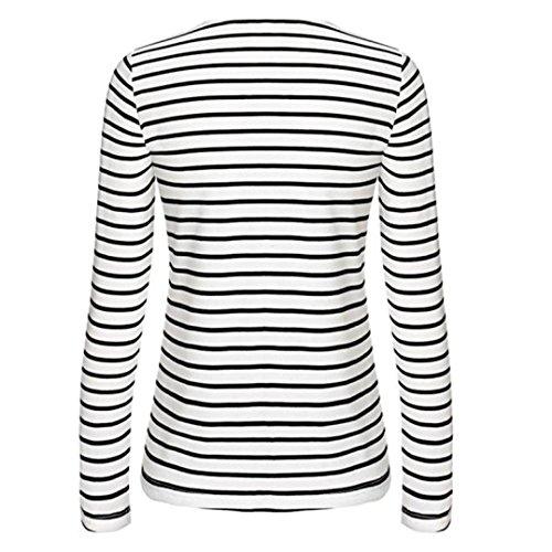 Camicetta Donna , feiXIANG Donna Stripe manica lunga casual Tops T-shirt camicetta,miscela del cotone,S~XL Bianco