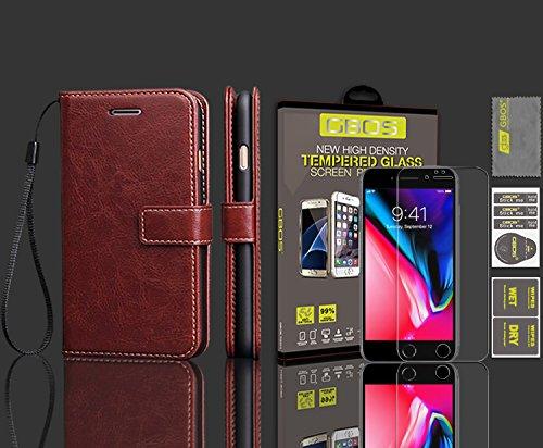 GBOS® Braun Luxux-reiche lederne Standplatz-Mappen-Schlag-Fall-Abdeckung und gehärtetes Glas-Schutz APPLE IPHONE 8 PLUS Braun