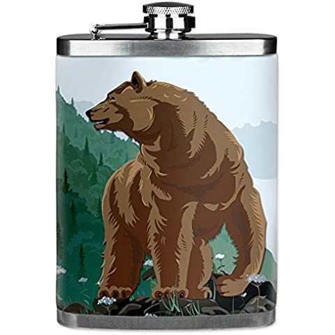 Mugzie® brand 7 Oz Hip Flask with Insulated Wetsuit Cover - Mountain Bear by Mugzie