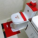 Navidad Juego de Baño para Inodoro, Tanque y Alfombra, Santa Toilet Seat Cover Rug Set Christmas Toilet Closestool Cover Home Decor Embellishments (3-set Santa Claus)
