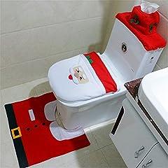 Idea Regalo - Washable Santa Toilet Seat Cover Rug Set Christmas Toilet Closestool Cover Home Decor Embellishments (3-set Santa Claus)