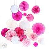 ... Blumen Pompoms Set, Wabenbälle Lampions Laternen Fächer Girlande  Dekoration, Für Hochzeit Party Baby Duschen Geburtstag Bankett Zimmer Pink  Rosa Weiß