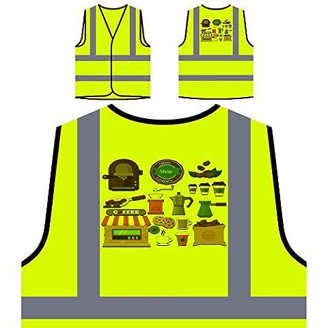 Éléments du magasin de café nouveauté drôle Veste de protection jaune personnalisée à haute visibilité b500v
