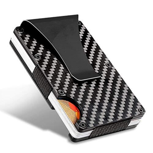 a1275c6ce HALOViE Cartera Tarjeta de Crédito Tarjetero RFID Bloqueo Fibra de Carbono  y Clip para Dinero Hombres