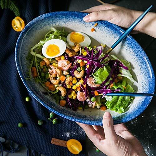 Ovale Keramik Obst und Gemüse Salatschüssel Schüssel Suppentopf Fischschale Partyschale 8 Zoll (Durchmesser 29,8 cm, Breite 22 cm, Höhe 10 cm) Catering Küche Schalen